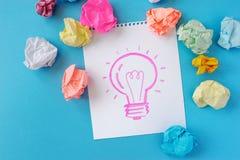 Il disegno di una lampadina su un fondo bianco L'idea, lampadina, colore ha sgualcito la carta Immagine Stock Libera da Diritti