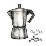 Il disegno nero dell'inchiostro della macchinetta del caffè Fotografia Stock
