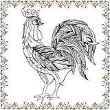 Il disegno passa il gallo decorativo monocromatico nel telaio floreale Rooste decorativo con l'ornamento floreale per anti colori royalty illustrazione gratis