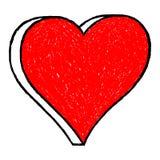 Il disegno rosso del cuore è creato con una penna a sfera dalla mano immagine stock libera da diritti
