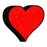 Il disegno rosso del cuore è creato con una penna a sfera dalla mano immagine stock