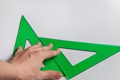 Il disegno tecnico, la squadra a triangolo fotografia stock