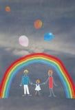 Il disegno variopinto dei bambini di una famiglia Fotografie Stock Libere da Diritti