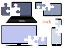 Il dispositivo di Digital con il taglio parte sotto forma di puzzle Vettore Fotografia Stock