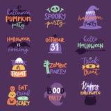 Il distintivo del testo di logo dell'invito della celebrazione del giorno di Halloween esprime la progettazione stabilita dell'il Fotografie Stock