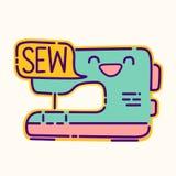 Il distintivo della macchina per cucire, il segno piano di stile di progettazione di kawaii sveglio, icona del sarto da donna, cu royalty illustrazione gratis