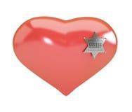 Il distintivo dello sceriffo del segno del cuore su fondo bianco Fotografia Stock Libera da Diritti