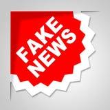 Il distintivo falso di notizie significa l'illustrazione falsa 3d Fotografie Stock Libere da Diritti