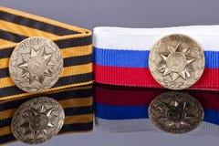 Il distintivo ha colpito alla menta di St Petersburg per il giorno di vittoria Fotografia Stock Libera da Diritti