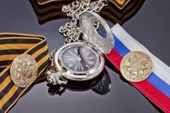 Il distintivo ha colpito alla menta di St Petersburg per il giorno di vittoria ed il po Immagini Stock Libere da Diritti