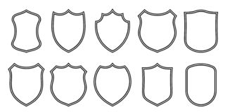 Il distintivo rattoppa i modelli del profilo di vettore Icone militari o araldiche del club di sport, della stemma e dello scherm fotografie stock