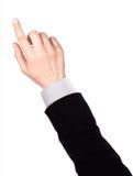 Il dito dell'uomo d'affari che indica o che tocca immagine stock