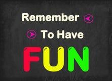 Il divertimento eccellente, si diverte, divertimento comincia, si diverte ogni giorno Immagini Stock