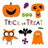 Il divertimento Halloween ha messo con la zucca, gufo, pipistrello, fantasma Immagini Stock Libere da Diritti