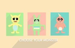 Il divertimento pastello del mostro, sceglie il vostro mostro Fotografia Stock
