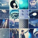 Il DJ che gioca il collage di musica Immagine Stock Libera da Diritti