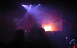 Il DJ con il laser Fotografia Stock Libera da Diritti