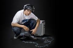 Il DJ con l'altoparlante Immagine Stock Libera da Diritti