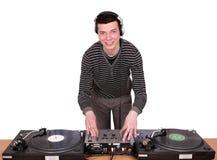 Il DJ con le piattaforme girevoli Fotografie Stock