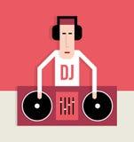 Il DJ con le piattaforme girevoli Immagini Stock Libere da Diritti