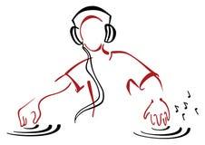 Il DJ dietro la console Fotografia Stock Libera da Diritti