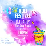 Il DJ fa festa l'insegna per la celebrazione di Holi Fotografia Stock Libera da Diritti