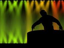 Il DJ nell'illustrazione del randello di notte Immagine Stock Libera da Diritti