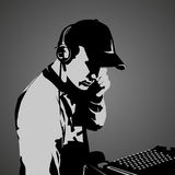Il DJ sul lavoro Immagini Stock Libere da Diritti