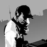 Il DJ sul lavoro Illustrazione Vettoriale