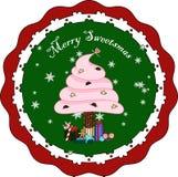 Il dolce crema gonfio attacca l'albero di Natale Fotografia Stock Libera da Diritti