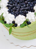 Il dolce della frutta dell'estate ha arrivato a fiumi un biscotto del pistacchio con billberry Immagine Stock
