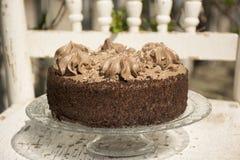 Il dolce di TChocolate decora con i grandi riccioli di cioccolato raso confinato con panna montata fotografia stock