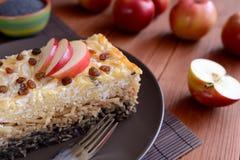 Il dolce ha arrostito la pasta con i semi di papavero, le mele e la ricotta Immagine Stock