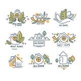 Il dolce, insieme domestico di logo di eco, casa di legno badges le illustrazioni di vettore su un fondo bianco illustrazione vettoriale