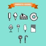 Il dolce tratta l'insieme dell'icona di vettore Immagini Stock