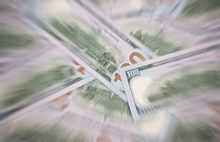 Il dollaro americano delle denominazioni differenti blured il fondo Fotografie Stock