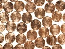 Il dollaro conia 1 centesimo del penny del grano del centesimo Fotografie Stock Libere da Diritti