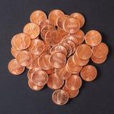 Il dollaro conia 1 centesimo del penny del grano del centesimo Fotografia Stock Libera da Diritti