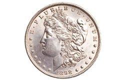 Il dollaro d'argento antico ha isolato Fotografia Stock