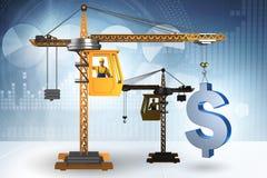 Il dollaro di sollevamento della gru di costruzione nel concetto di affari di valuta Fotografia Stock