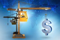 Il dollaro di sollevamento della gru di costruzione nel concetto di affari di valuta Immagini Stock Libere da Diritti