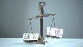 Il dollaro domina l'euro sulle scale, concetto di tassi di cambio, commercio del mercato azionario fotografia stock libera da diritti