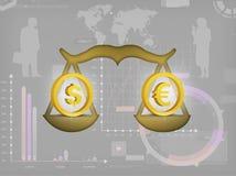 Il dollaro e l'euro Fotografie Stock