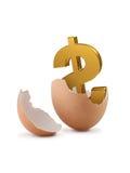 Il dollaro firma dentro l'uovo. Immagine Stock