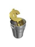 Il dollaro firma dentro la benna del metallo Fotografie Stock Libere da Diritti