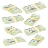 Il dollaro impila il vettore Banconote dei soldi Simbolo dei contanti Soldi Bill Isolated Illustration Immagini Stock