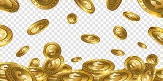 Il dollaro realistico dell'oro 3d di fortuna conia il volo sul BAC trasparente Immagini Stock Libere da Diritti