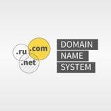 Il Domain Name assiste il logo e l'icona di web Testo alla destra Fotografia Stock Libera da Diritti