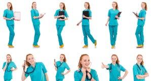 Il donna-medico con il raccoglitore isolato su bianco Fotografia Stock Libera da Diritti