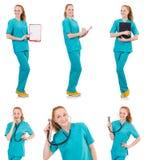Il donna-medico con il raccoglitore isolato su bianco Fotografie Stock Libere da Diritti